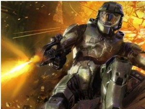 halo 4 master chief, orange backdrop falling
