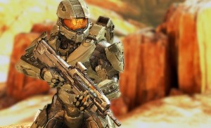 master chief halo 4 in desert surrounding. possible spartan 4 and new armour