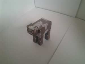 Minecraft cow left side paper model