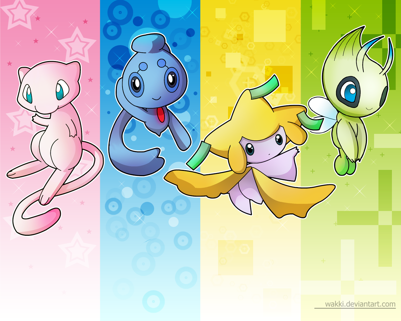Nice colorful pokemon desktop wallpaper from pokemon Silver/Gold. From left to right: Mew, Phione, Jirachi, Celebe