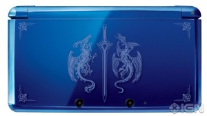 Special Limited Edition Blue Fire Emblem 3DS console. Special 3DS. Shows 2 dragons surrounding a sword