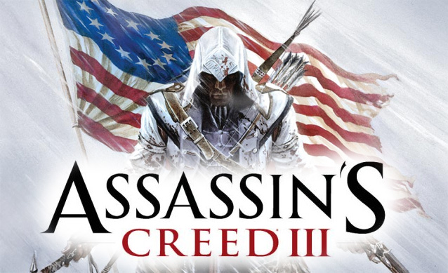 Assassins Creed III Art showing the american flag and the half British, half Native American protagonist