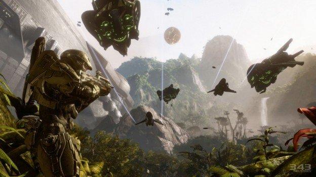Halo 4 screenshot showing John-117 looking at Covenant drop ships and banshees flying overhead.