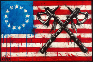 Allegiance by Max Neutra shows 2 crossed tomahawks atop a grunge style american flag