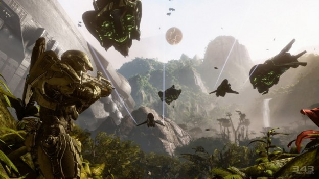 Halo 4 screenshot showing John-117 looking at Covenant drop ships and banshees flying overhead.