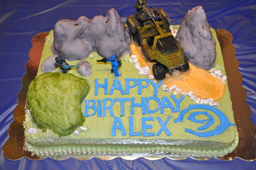 Super Halo Birthday Cake 9Yo Spartan 3D Cakes Gaming Now Funny Birthday Cards Online Alyptdamsfinfo