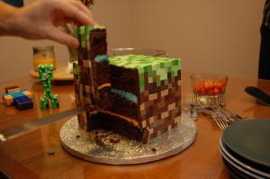 minecraft cube cake cut