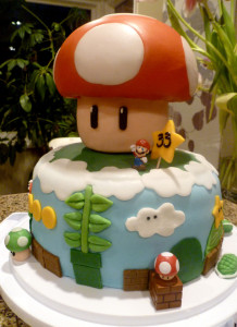 full view of mario bros cake from mingscakes