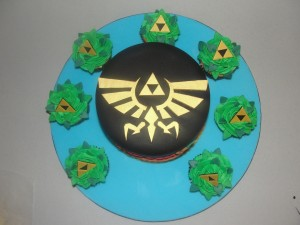 zelda cake and leafy cupcakes