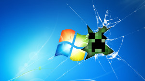 minecraft creeper face smashed screen