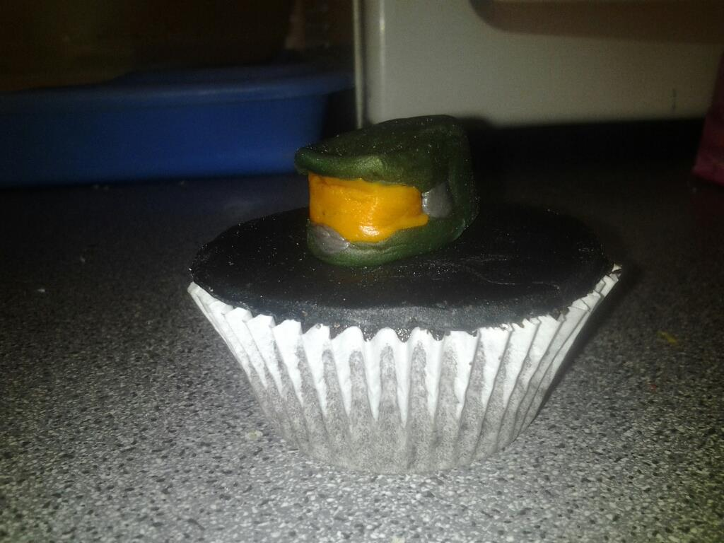 Master Chief Halo helmet cupcake decoration