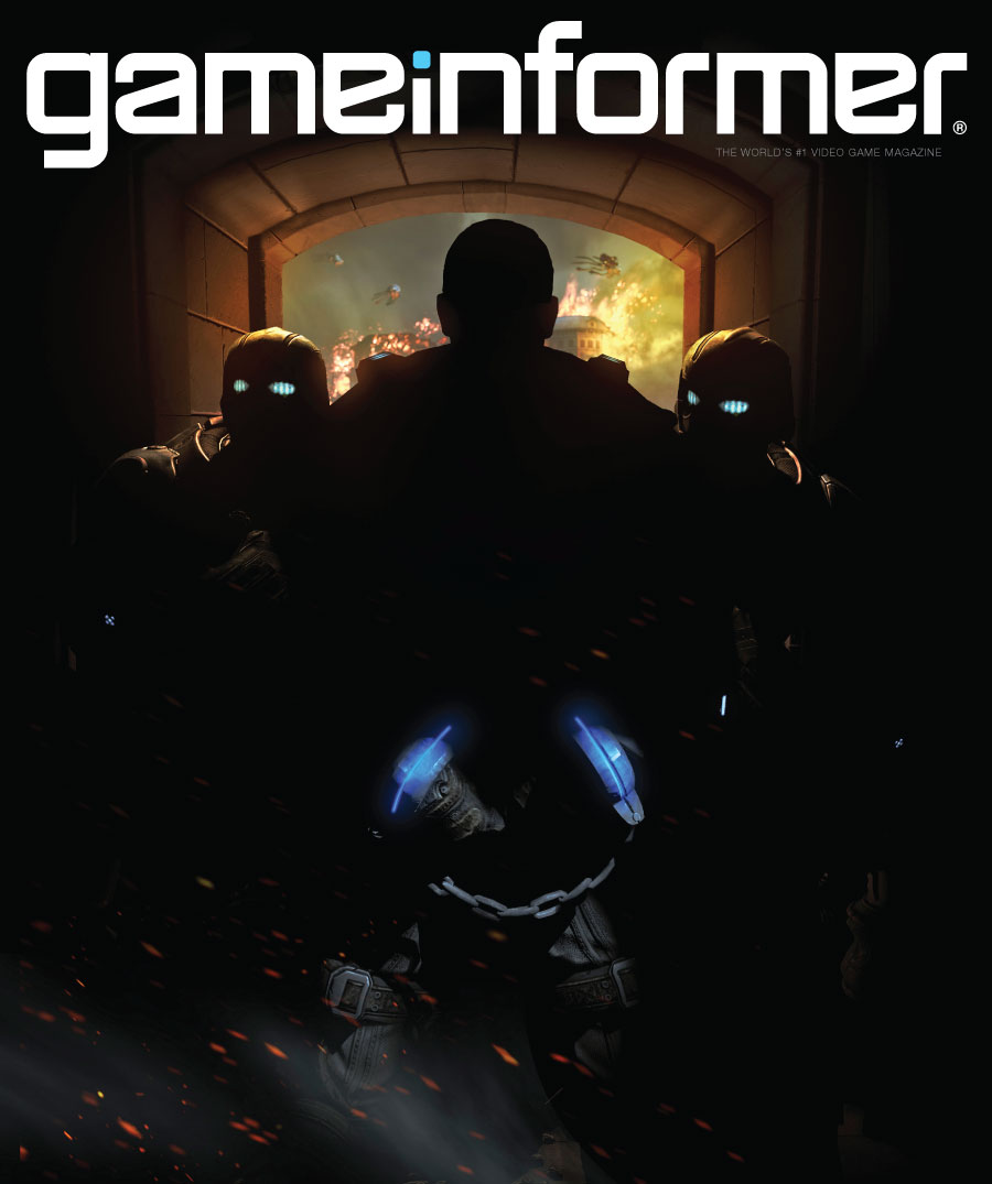 GameInformer July Edition Cover showing a new Gears of War game. 2 cogs taking marcus fenix to prison in handcuffs