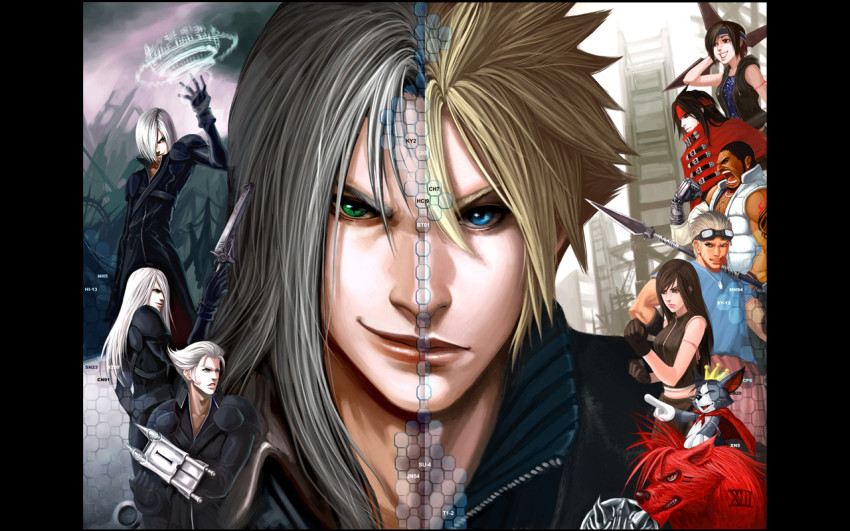 Final Fantasy VII Advent Children Wallpaper showing half of Cloud, half of Sephiroth and the rest of the cast down the site including Barret, Cid and RED