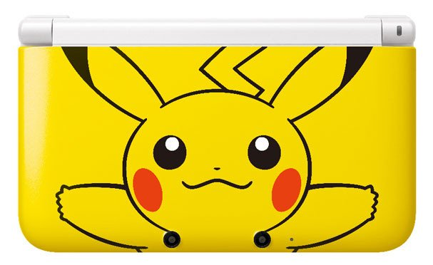 Yellow Nintendo 3DS - Pikachu 3DS XL console outer top front face of 3ds