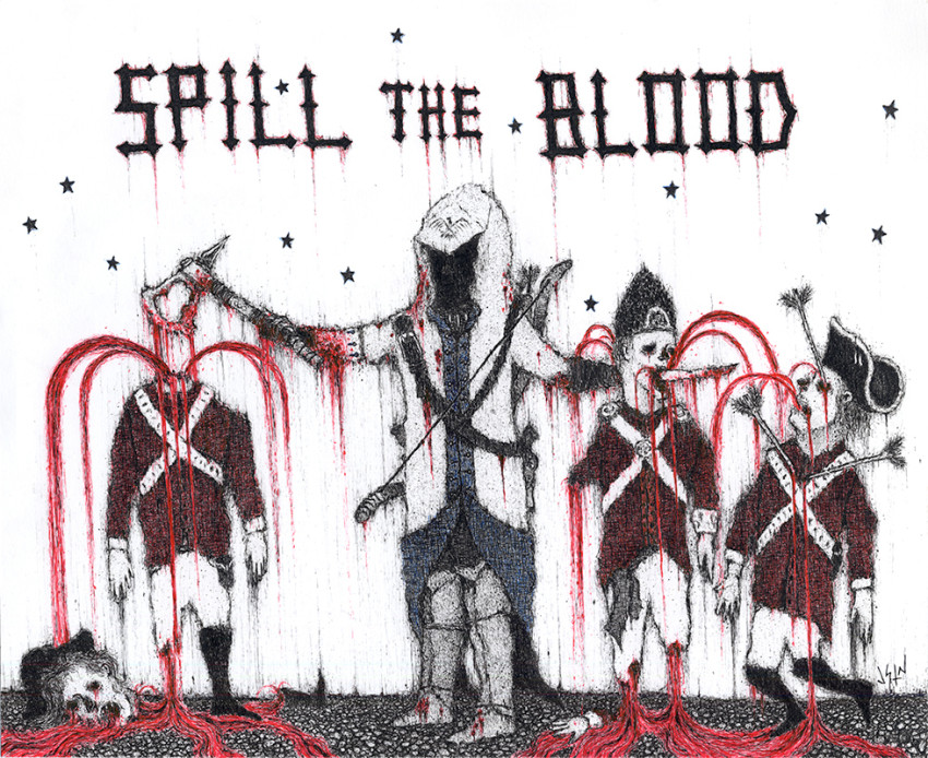 Assassin's Creed III art Spill the Blood by Justin Bartlett shows the assassin taking out several guards at once.