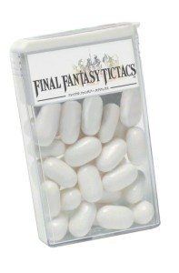 a mock up of what tic tacs would look like if they were Final Fantasy Tic Tacs. It's a play on words from the game Final Fantasy Tactics