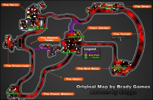 Map of the Black Ops 2 Green Run Level of tranzit Zombies