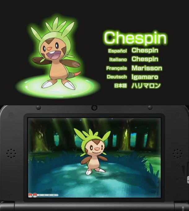 pokemon X and Y starters - grass type Chespin