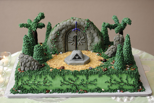 zelda master sword shrine cake