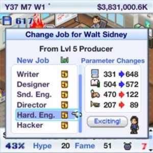 The list of jobs available in Game Dev Story